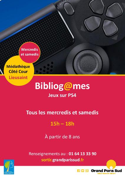 Les mercredis et samedis de 15h à 18h : Bibliogames. Jeux sur PS4 à partir de 8 ans. Renseignements au 01 64 13 33 90.